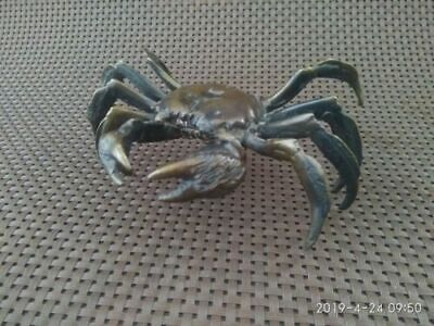 Chinese Antique Rare Copper Handwork Lifelike Crab Collectible Wonder Statue