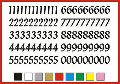 STICKY NUMBERS 0 to 9 Penstyle 30mm OR 35mm high vinyl set - any colour