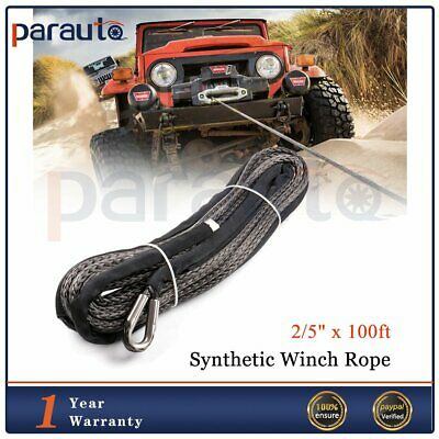"""2/5"""" x 100ft Winch Rope 23000LB Synthetic Line Grey Recovery Winch Cable 4WD ATV"""