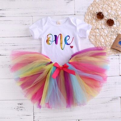Infant Baby Girl My 1st Birthday Rainbow Romper Tutu Tulle Skirt Outfit Clothes
