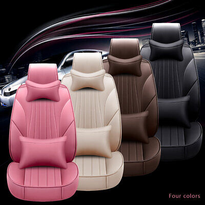 Universal Car Seat Covers Set PU Leather Protector Front+Rear 5 Seats Cushions