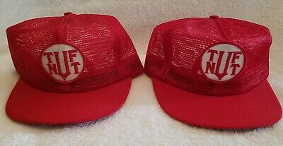 0899e68726c TUF NUT Lot of 2 Red Patch Vintage Rare Mesh Snapback Trucker Hats Caps USA