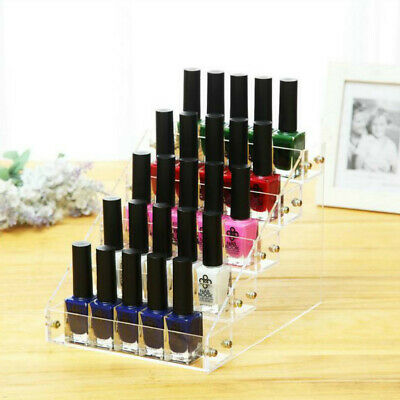 5 Tiers Clear Acrylic Nail Polish Makeup Rack Display Stand Holds 25 Bottles