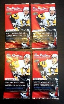 2018-19 TIM HORTONS UD 4 SEALED HOCKEY CARD PACKS LOT Mcdavid Matthews Crosby ?
