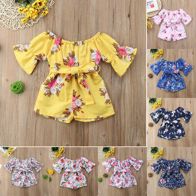Newborn Toddler Baby Girls Off Shoulder Floral Print Bow Romper Jumpsuit Outfits
