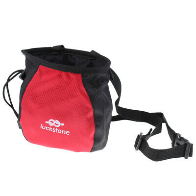 Rock Climbing Chalk Bag with Quick-Release Waist Belt Drawstring Closure Red