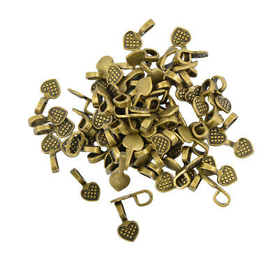 100pcs Glue on Bail for Pendant Heart Bails Charm Connector Jewelry Making