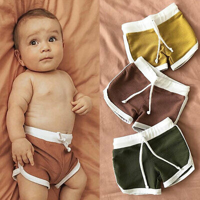 AU Infants Baby Boys Knitted Pits Casual Pure Pants Outfits Summer Beach Clothes