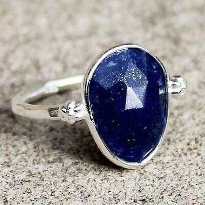 925 Solid Sterling Silver Faceted Blue Lapis Lazuli Stone Ring - Size 7, 8 or 9