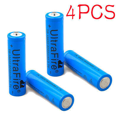 4x Ultrafire 6000mAh 18650 Battery Li-ion 3.7V Lithium Rechargeable Blue