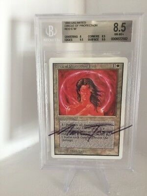 Magic the Gathering Unlimited Circle Of Protection Red | MTG BGS 8.5 Signed
