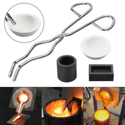 UK 4pcs Gold Melting Tool Kit Graphite Crucible Cup+ Tongs+ Bowl + Casting Ingot