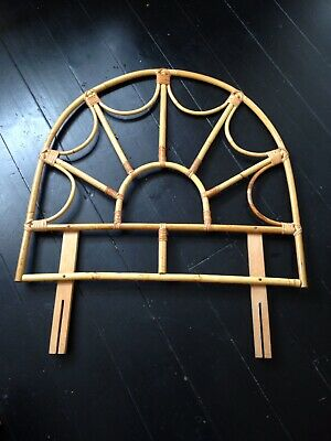 Vintage Single Bed Headboard Bamboo Rattan