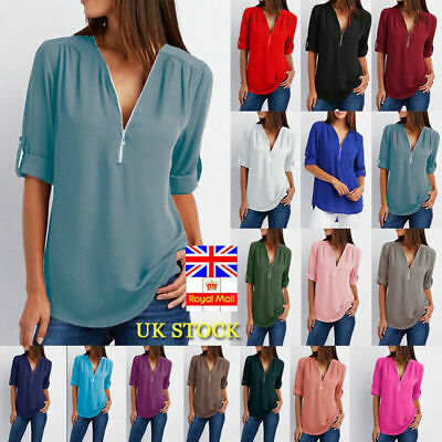 Plus Size Women Chiffon Long Sleeve Loose Blouse Ladies V Neck Casual Tops Shirt