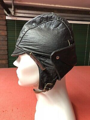 Vintage Leather Aviators Pilots Cap Collectable Item In Good Condition