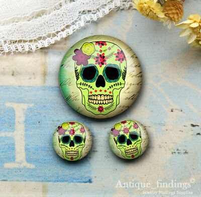 25MM+2PCS 12mm Sugar Skull Glass Cabochon Dome Cameo Cabs RCH027E