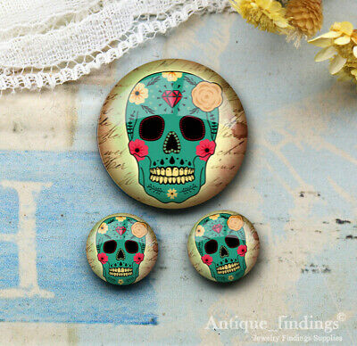 25MM+2PCS 12mm Sugar Skull Glass Cabochon Dome Cameo Cabs RCH027D
