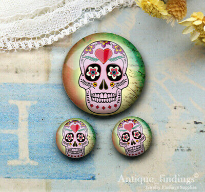 25MM+2PCS 12mm Sugar Skull Glass Cabochon Dome Cameo Cabs RCH027A