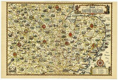 1932 Map PICTORIAL PLAN OF EASTERN COUNTIES & MIDLANDS by Alfred Taylor VINTAGE