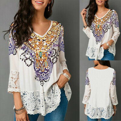 Women Lace Long Sleeve Loose Blouse Ladies Gypsy Tops V Neck  T-Shirt Size 6-18