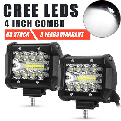 2X 4 inch 200W CREE LED Light Bar Combo 3-Row Offroad Work For Ford 4X4WD 5