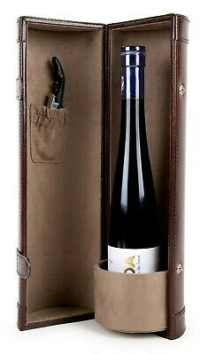 Handicraft Genuine Leather Bottle Wine Protector Carrier Accessory Travel set-2