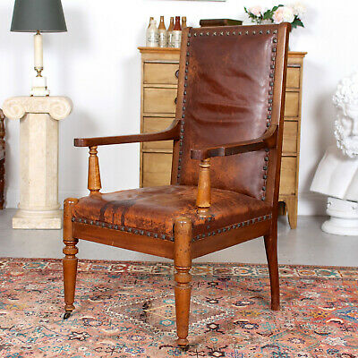 Antique Swedish Armchair Lounge Desk Chair 19th Century Mahogany