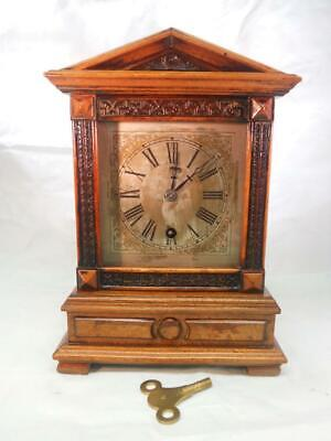Antique H.A.C German 8 Day Wooden Timepiece Mantel Clock