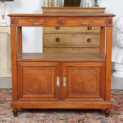 Antique Swedish Oak Sideboard Serving Stand 19th Century Country