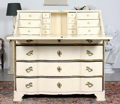 Antique Swedish Gustavian Bureau 19th Century Painted Writing Desk Serpentine