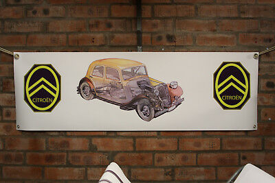 Citroen Traction avant Grand PVC Atelier Drapeau Garage Show