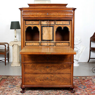 Large Antique Danish Biedermeier Secretaire Bureau Chest Mahogany Secretary Desk