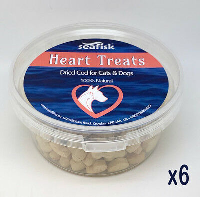 HEART TREATS 6x80g Dried Cod for Cats & Dogs training & reward 100%Natural fish
