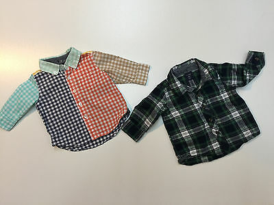 Lot 2 Baby Gap Boy Cotton Long Sleeves Plaid Shirts Size 3-6 Months