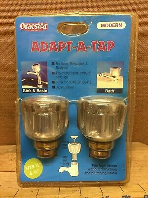 "Vintage Oracstar 1/2"" 3/4"" Adapt-A-Tap Acrylic Hot Cold Bath Sink Taps Set Pair"