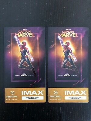 Captain Marvel IMAX Regal Collectible Ticket Set Of 2