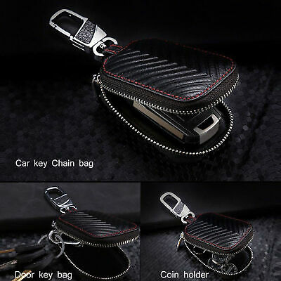 Universal Car Key Bag Remote Control Holder Black Leather Protection Case Cover
