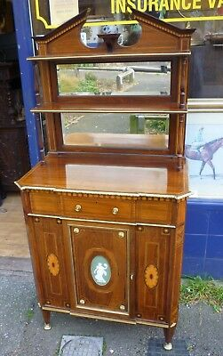 Very Fine Antique Marquetry Inlaid Rosewood Side Cabinet Wedgewood+Ormolu mounts