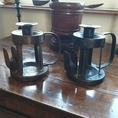 A Good Pair Of Rare Goberg Iron Candlesticks Arts And Crafts Hugo Berger