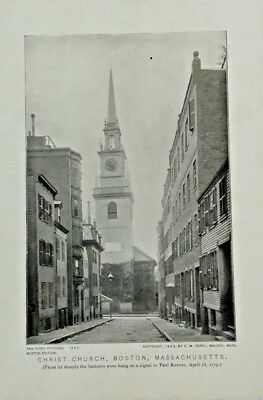 """Christ Church""  Boston, MA Eugene Perry Sepia Art Print Lithograph c: 1898"