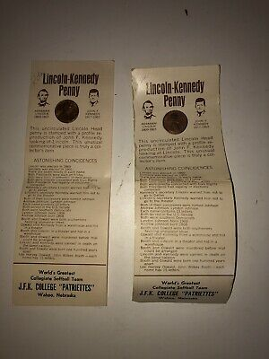Vintage PENNY, Lincoln-Kennedy 1973  Commemorative Piece, Lot of 2