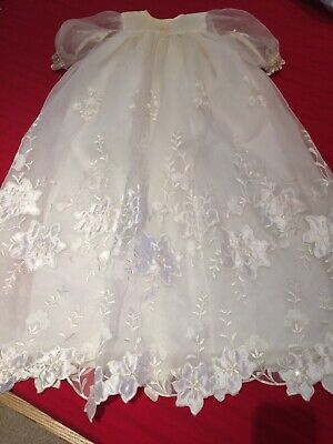 antique christening gown, handmade , some yellowing around neck as shown