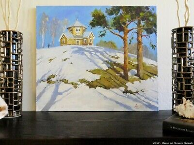 House On The Hill Winter Landscape Oil Canvas Painting Russian Signed Listed