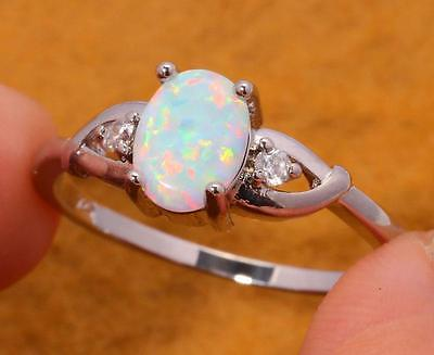Handcrafted Rare Antique Design  White Fire Opal & Zircon Silver Ring 9 Gift