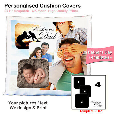 Personalised Photo Pillowcase Cushion Cover Fathers Day Custom Gift Pic Collage❤