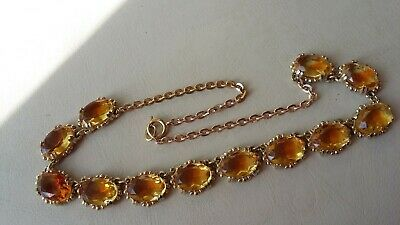Vintage jewellery goldtone and pale amber coloured glass necklace
