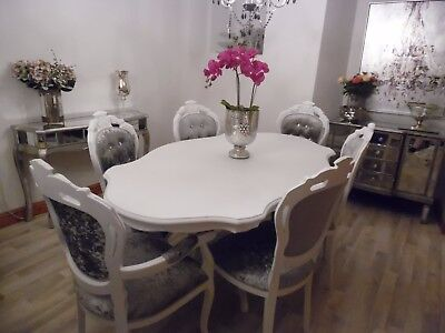 White Italian Dining Table & 6 Louis Style Chairs PAY ON DELIVERY