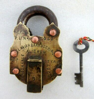 Vintage Old Rare Collectible Solid Brass 6 Lever 3 Step Tricky Puzzle Padlock