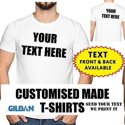 Personalised T-shirt Printing Custom Design White Tee print mens womens fit lot