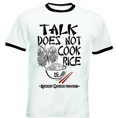 Ancient Chinese Proverb Talk Quote - New Black Ringer Cotton Tshirt